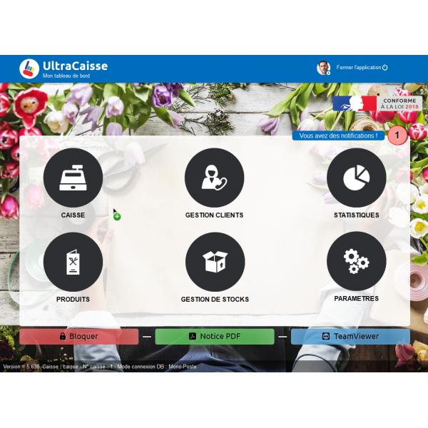 Logiciel caisse enregistreuse pas cher fleuriste